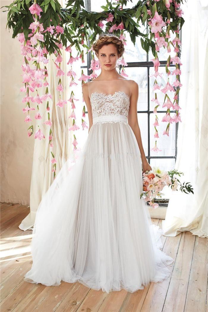 Cheap Flowy Beach Wedding Dresses 2015 Sheer Illusion Lace Bodice ...