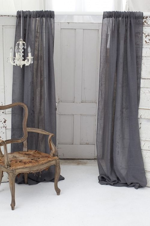 Couture Dreams Solid Linen Gauze Slate Grey Window Curtain Ships Free, Gray  Window Panels,