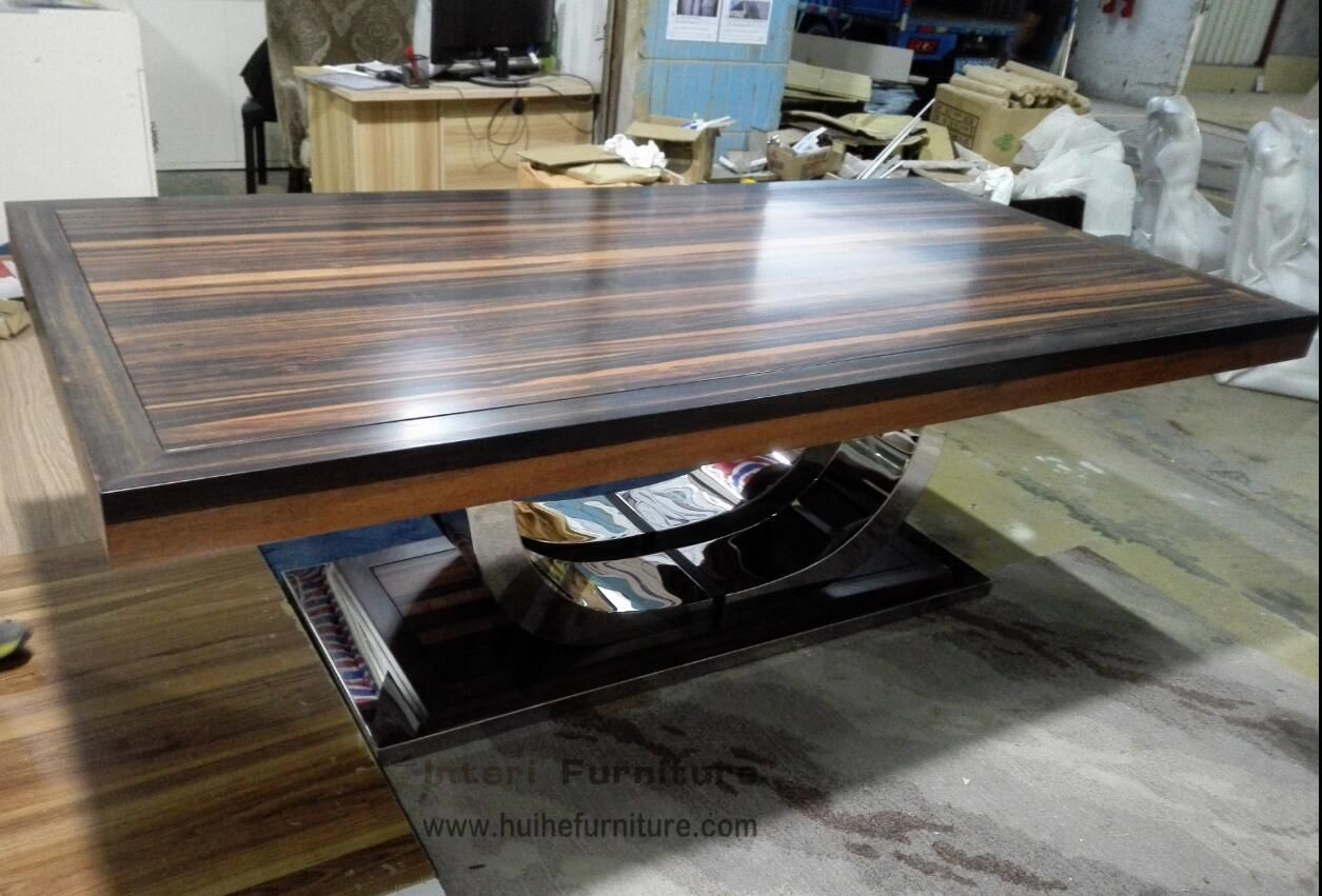 Custom Made Dining Table With Solid Ebony Wood And Stainless Steel