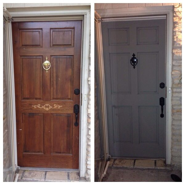 Front Door Before And After Being Painted With French