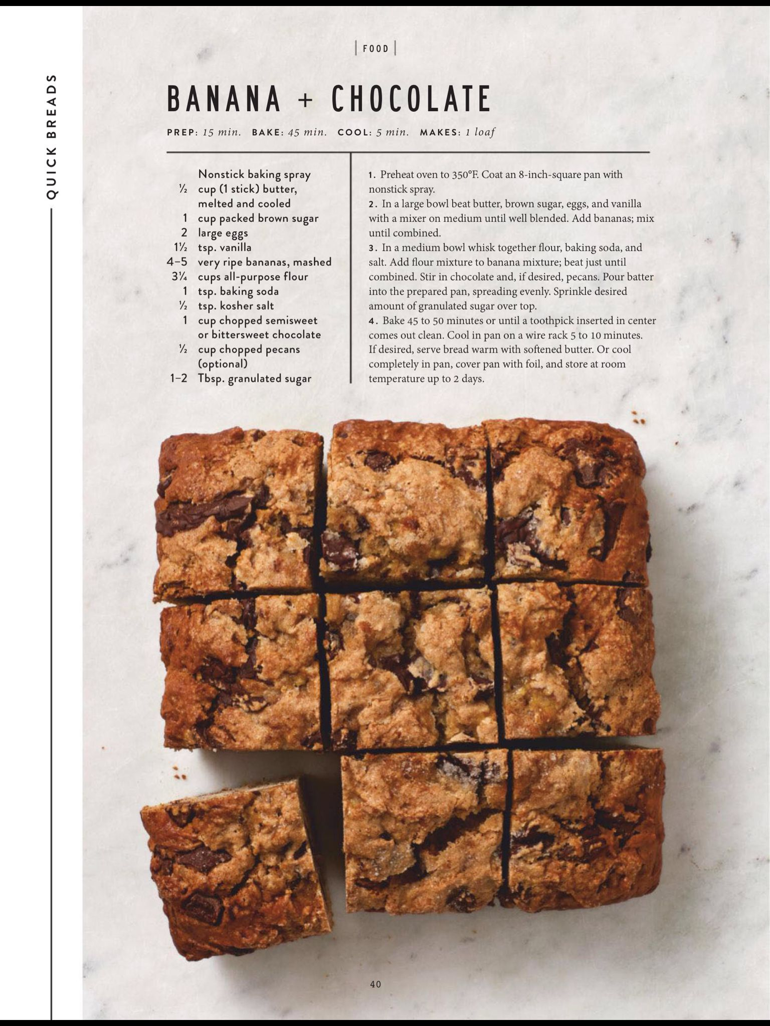 Quick Breads From The Magnolia Journal Spring 2019 Read It On The Texture App Unlimited Access To 200 Top Chocolate Banana Chocolate Quick Chocolate Bread