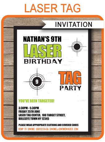 Laser Tag Invitation Template – green/orange | Laser Tag Party ...