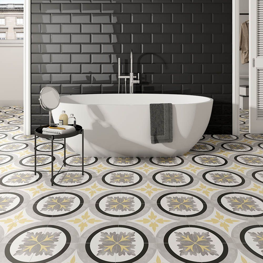 Brighton Grey Pattern Porcelain Floor Tiles Porcelain Flooring Tile Floor Tiled Hallway