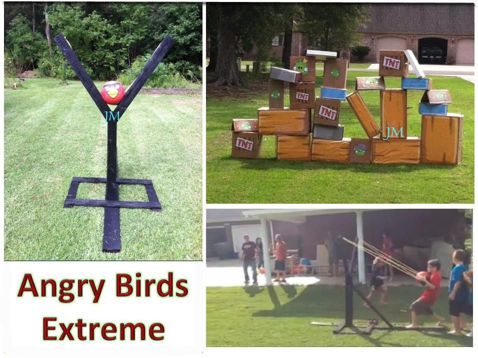 We made these Angry Birds Life sized slingshot and targets for our 10 year old. Best Birthday Party idea ever!