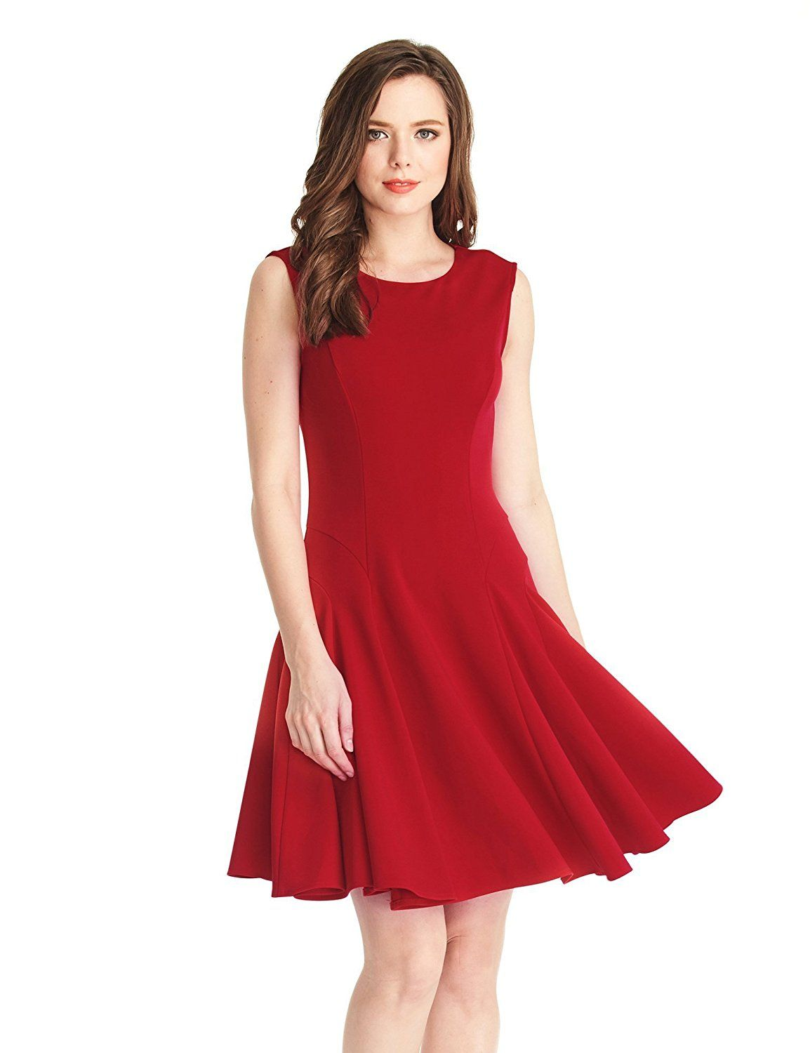 LookbookStore Women s Sleeveless Skater Semi Formal Knee Length Red Swing  Dress     Check out this great image   cocktail dresses 638401b908