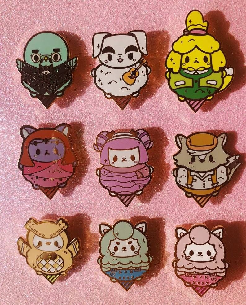 Animal Crossing Ice Cream Cone Pins made by Onicake -
