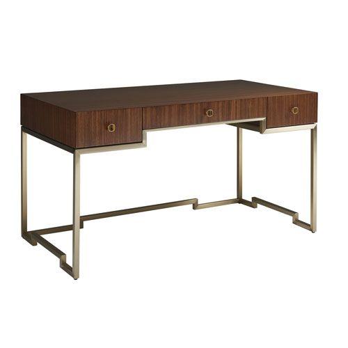 Sligh 195 412 Aventura Athena Writing Desk In Brown Gold Contemporary Modern Bellacor Modern Desk Desk Coaster Furniture