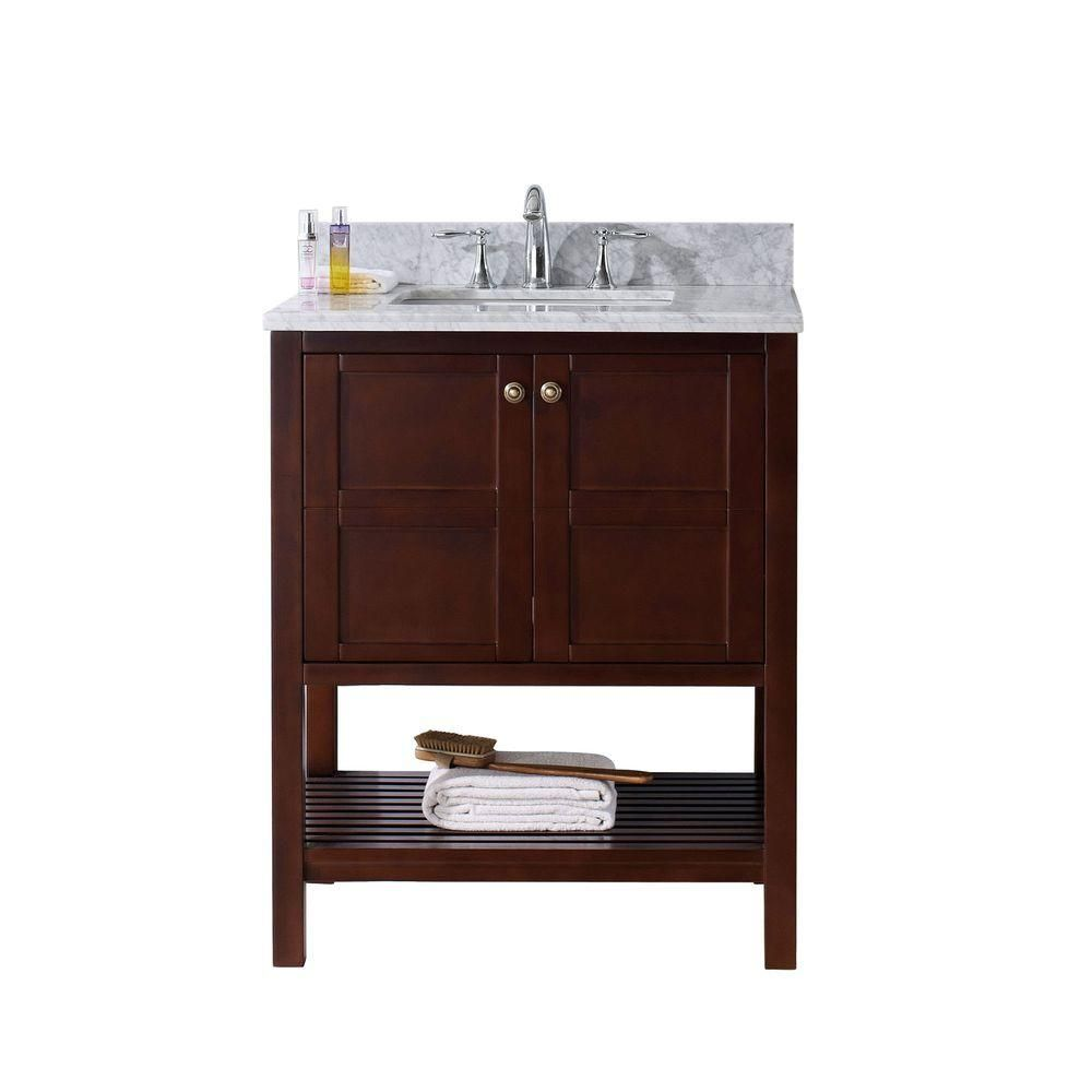 Virtu USA Winterfell 30 in. W x 22 in. D Vanity in Cherry ...