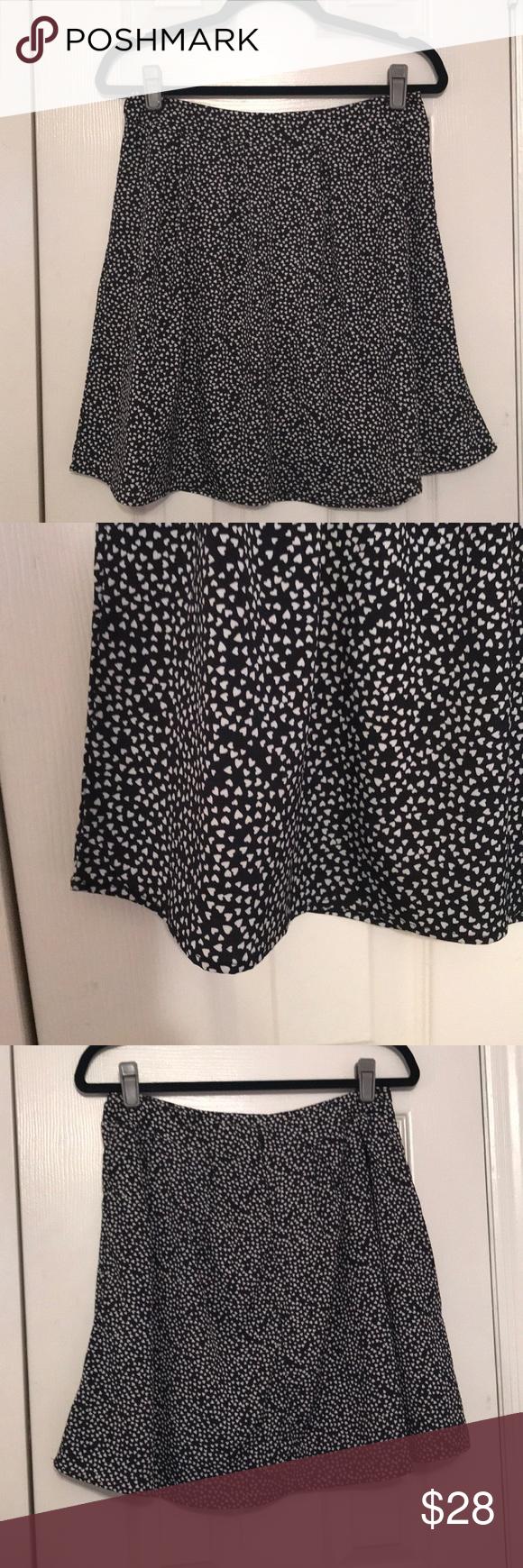 Zip Up Black and White Heart Skirt Black skirt with white