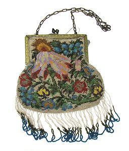 Antique Beaded Beads Purse Germany Gold Tone Frame Floral Flowers Deco Fringe | eBay