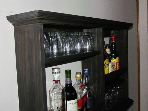 Mini-Bar Botellero mueble estilo minimalista licor mancha madera - mueble minimalista