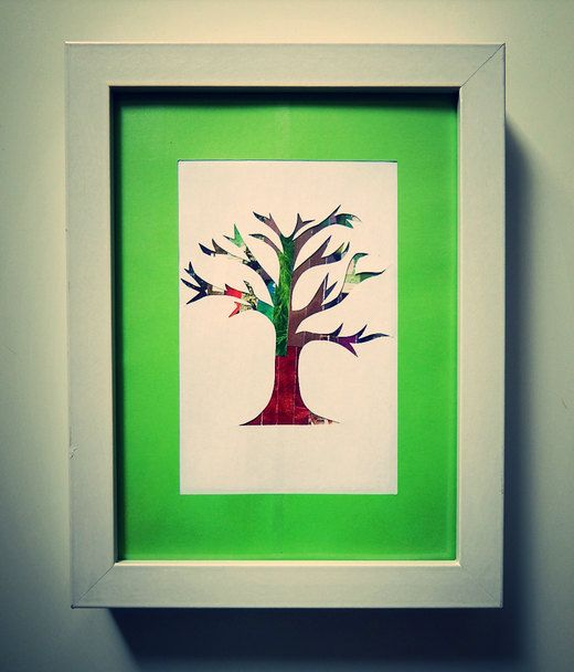 Recycled magazine art: Lone green tree AUD20.00 by ThePaperGirl14