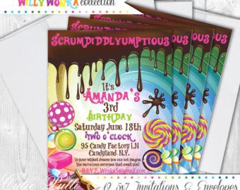 Willy Wonka Party Invitations 5x7 Custom Invitations by Cutie Putti