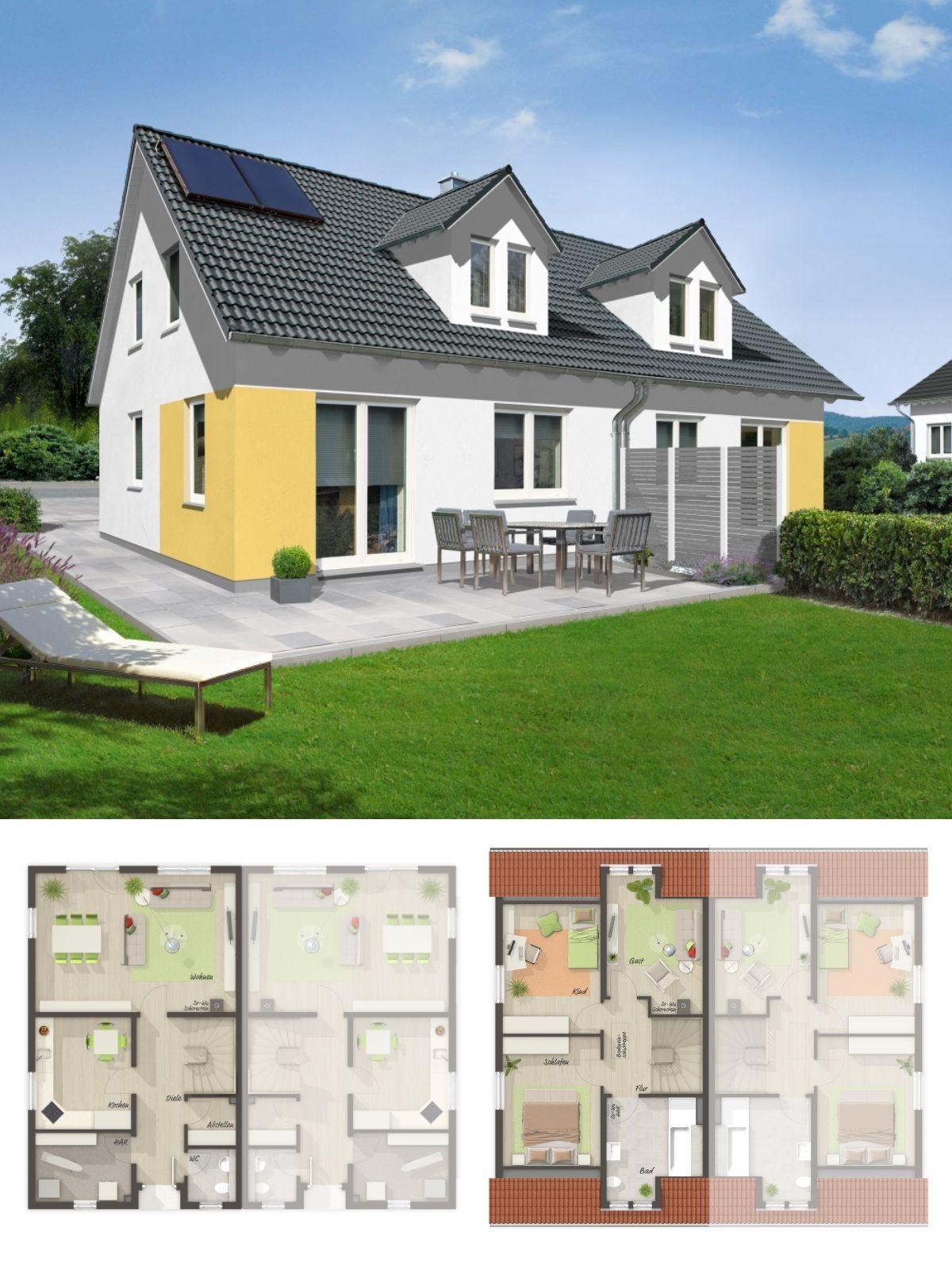 Moderne Doppelhaushälfte mit Satteldach Architektur, Gaube