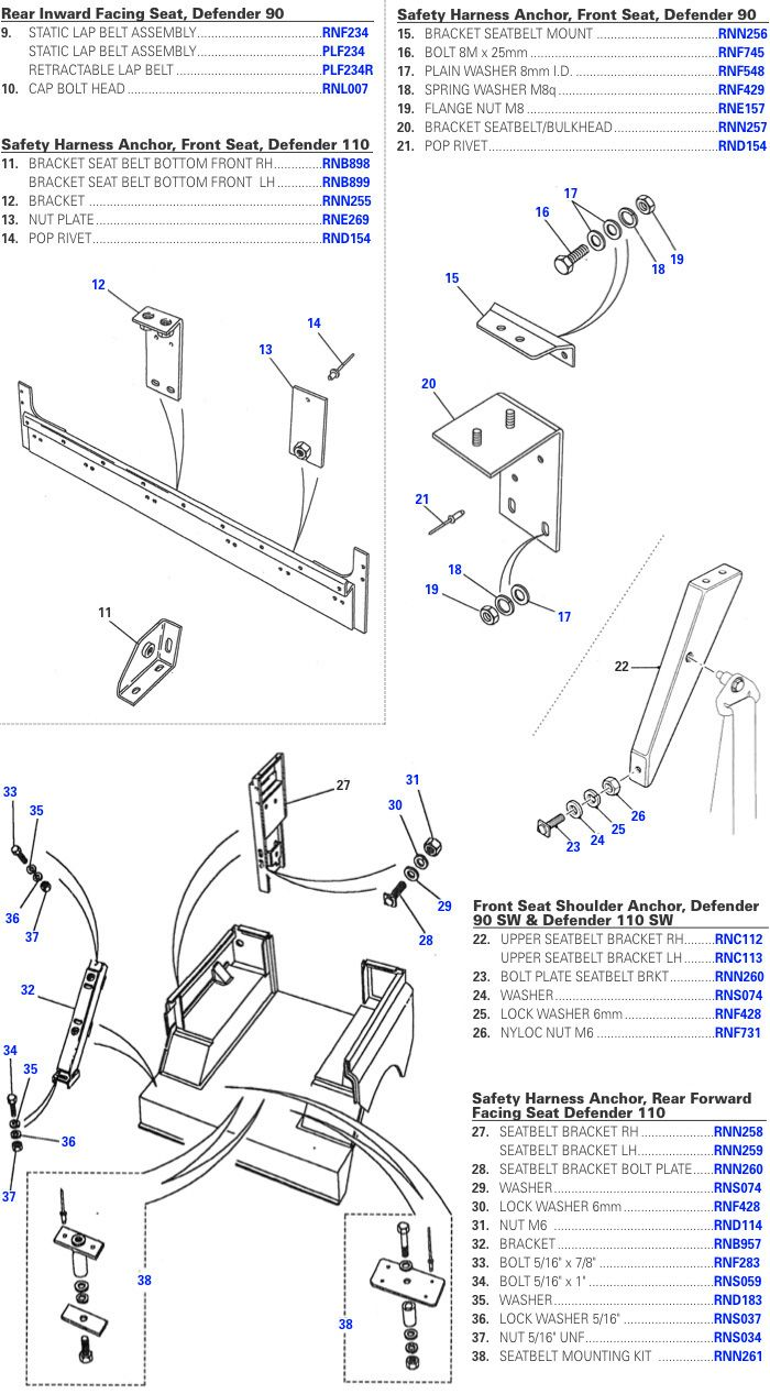Land Rover Defender Seat Belts By Rovers North Series 3 90 Rear Wiring Diagram