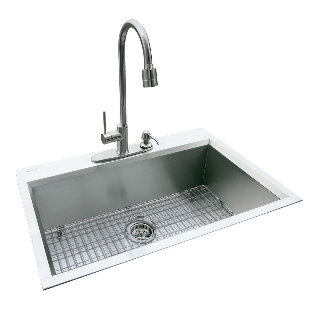 Dual Mount 31 5 Inch X 20 5 Inch X 10 Inch Deep Welded Single Bowl Kitchen Sink In Stainless Steel Single Bowl Kitchen Sink Sink Top Mount Kitchen Sink