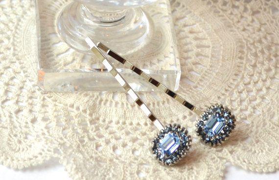Emerald Cut Pale Blue Rhinestone Bobby Pins by JillsBoutique, $32.00