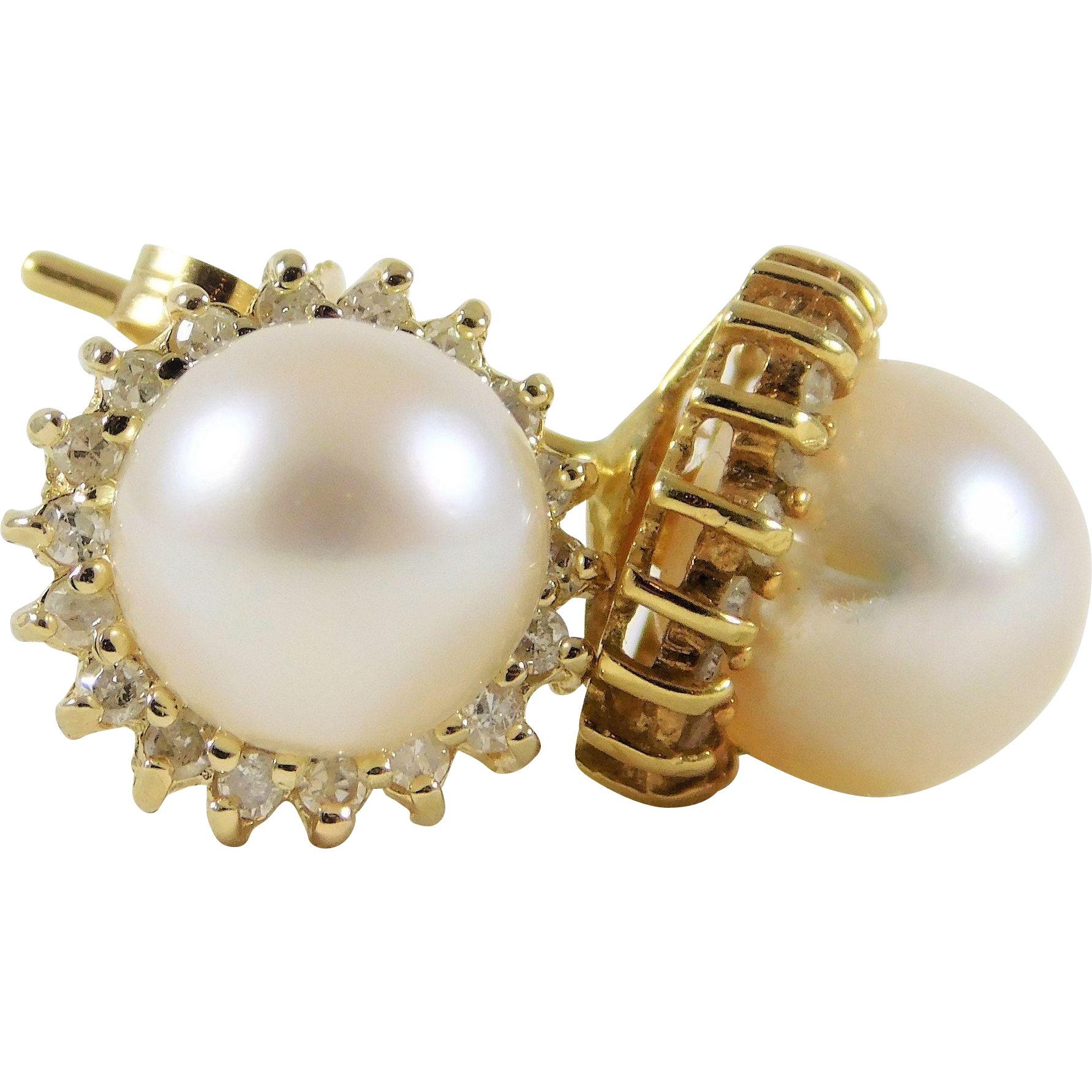 Classic AAA 8mm Saltwater Pearl Stud Earrings with Diamond Halo