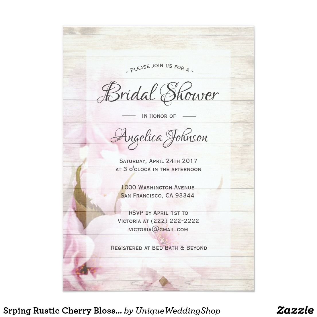 Spring Rustic Cherry Blossoms Floral Bridal Shower Card | Bridal ...