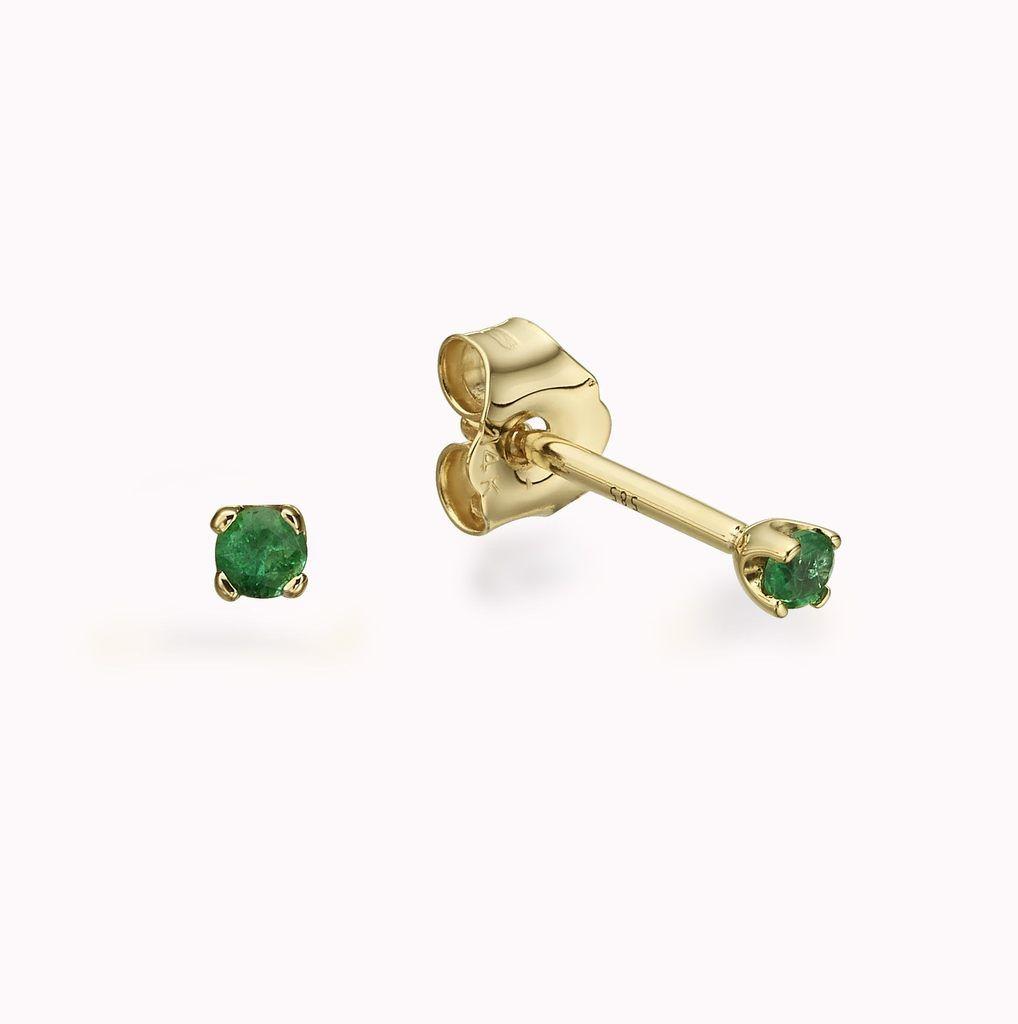 Tiny Emerald Gold Studs