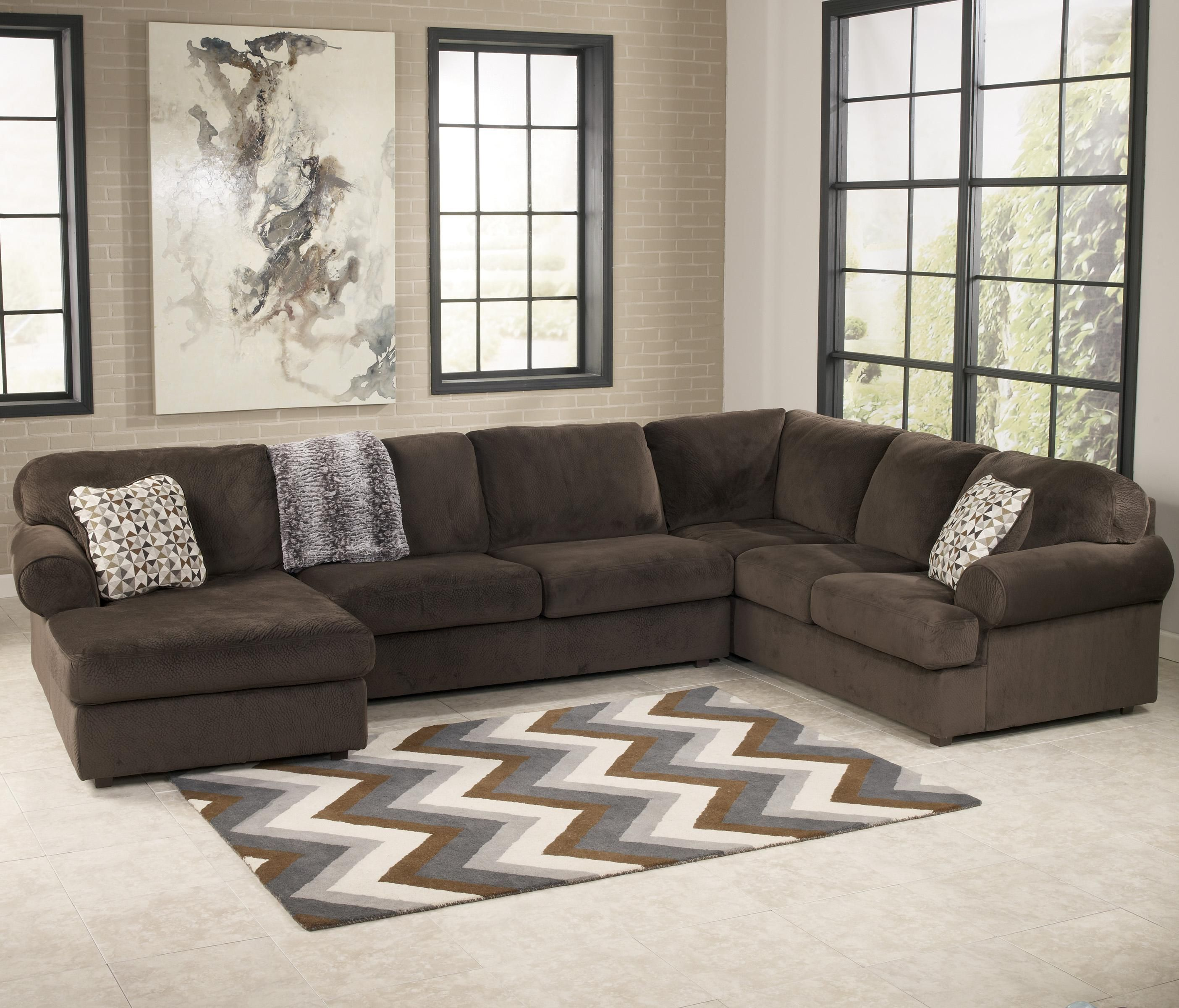 Jessa Place   Chocolate Casual Sectional Sofa With Left Chaise By Signature  Design By Ashley
