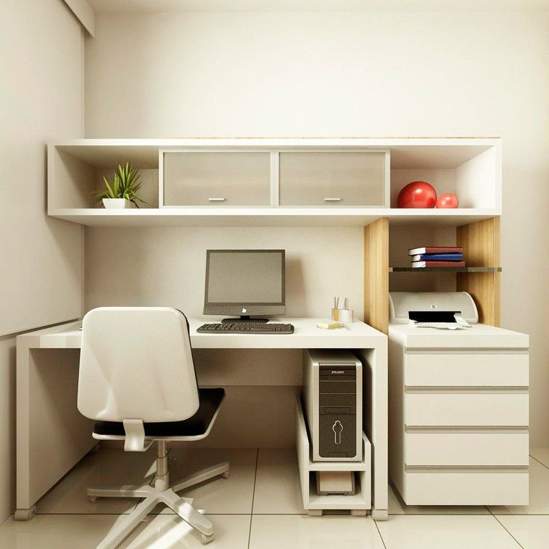 Interior, Small Home Office Design Ideas For Small Space With Small  Computer Table Design With Swivel Chair Cream Ceramic Tile Floor Design For  Interior ...