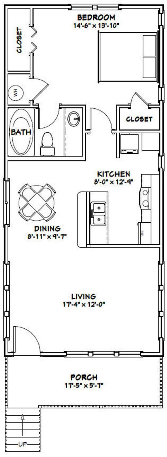 18x40 House 1 Bedroom 1 Bath 720 sq ft PDF Floor Plan Instant Download Model 5H