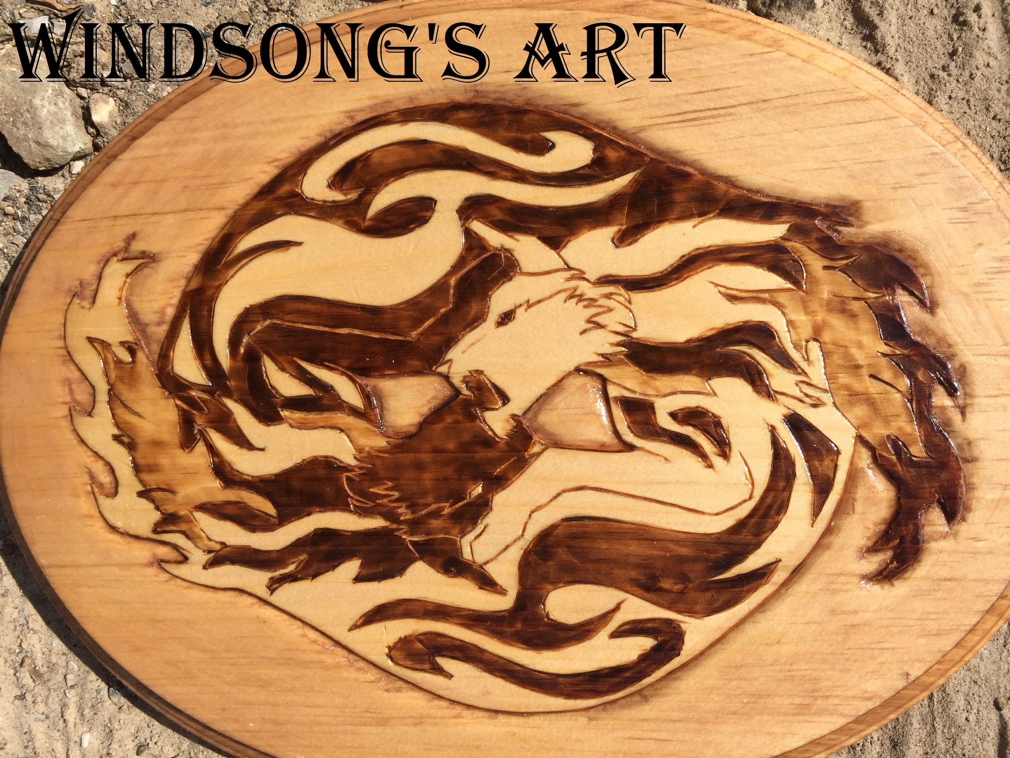 Yin and Yang wolves wood burn wolves wolf wood woodwork