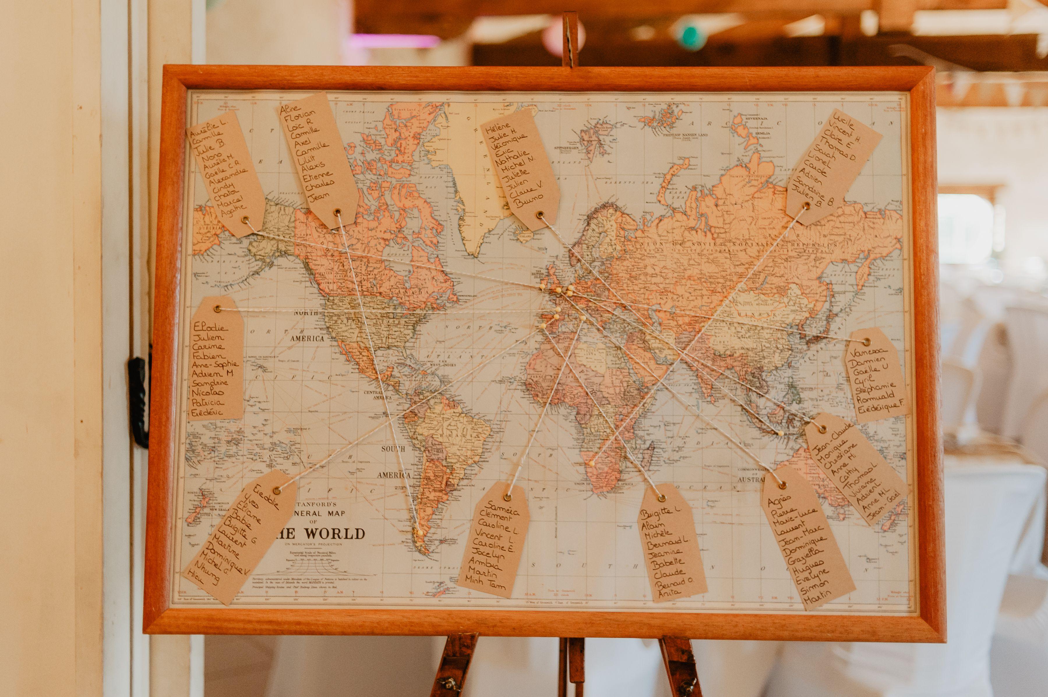 Idee De Plan De Table Theme Voyage La Mappemonde Deco Mariage Original Photographe Mariage Bordeaux Photographe Mariage