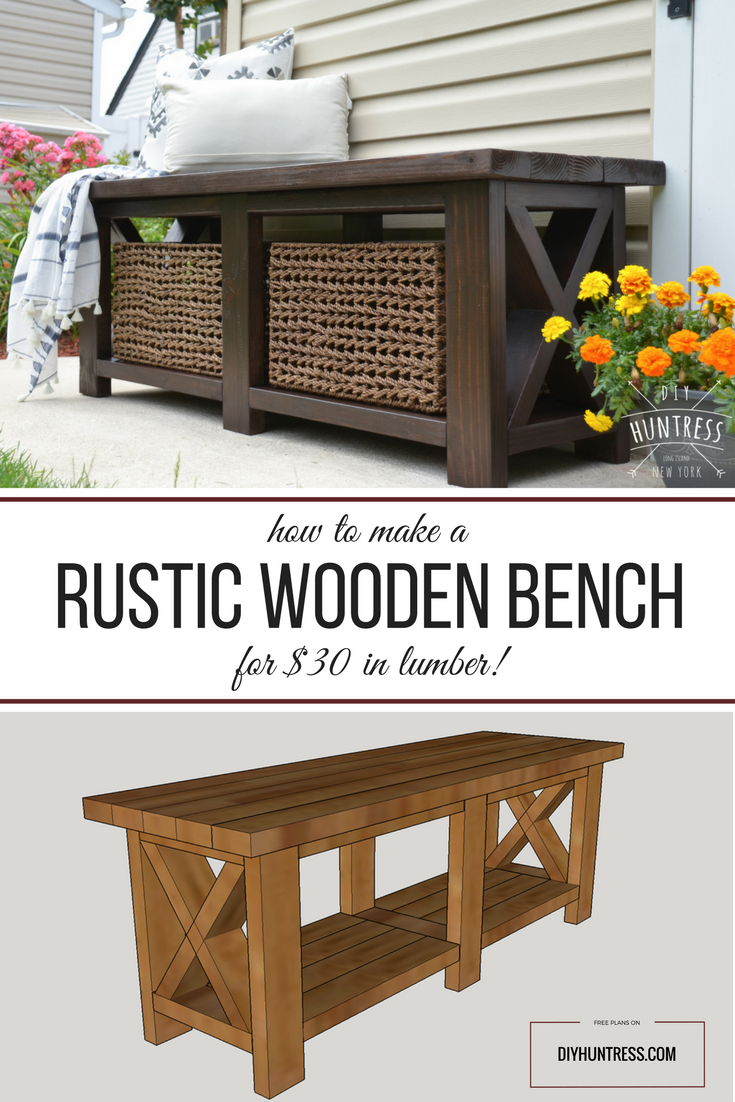 Table from a single 1 x 8 board see more diy twisty side table - Diy Rustic X Bench Free Woodworking Plans Diy Huntress