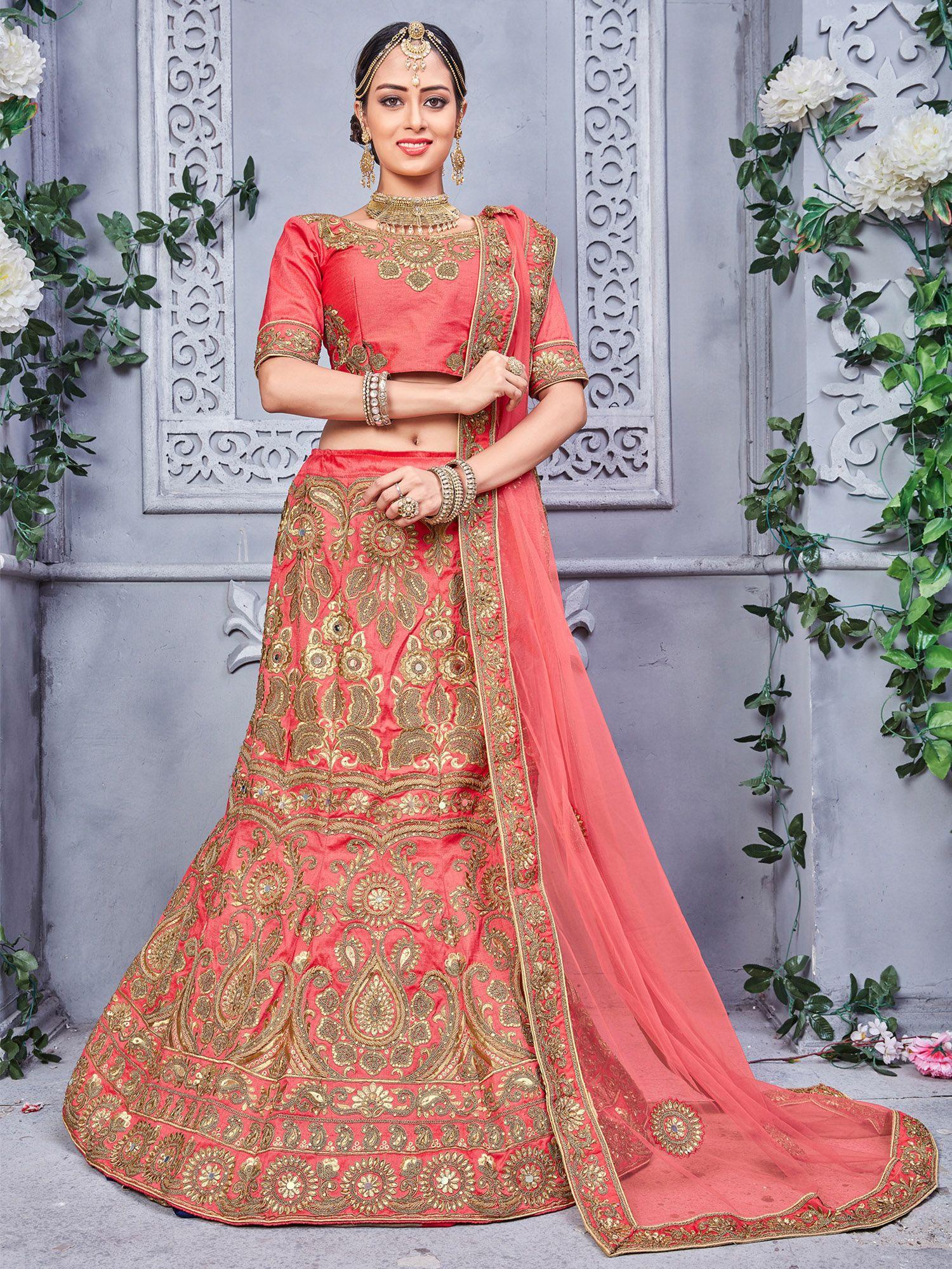 Gajari Pure Silk Designer Heavy Embroidered Lehenga Choli amazing