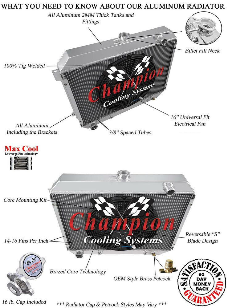"2 Row 1/"" Discount Champion Radiator for 1968-1973 Dodge Charger Big Block Engine"