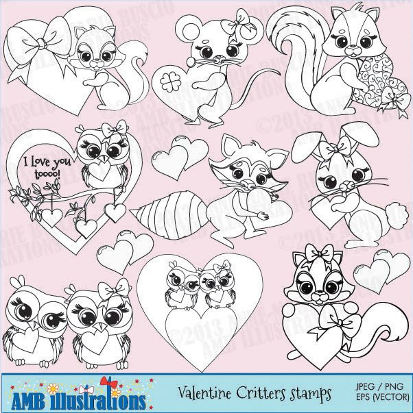 Critters in love stamps