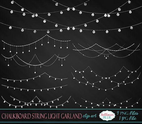 Chalkboard String Light Garland Clipart