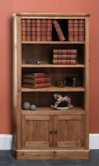 Carlton Copeland Oak Tall Bookcase With Cupboard