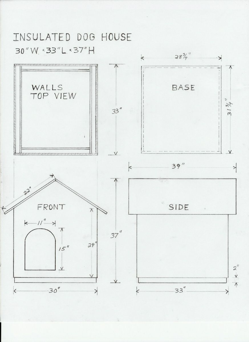 Dog house drawing and materials list for the home for Dog kennel floor plans