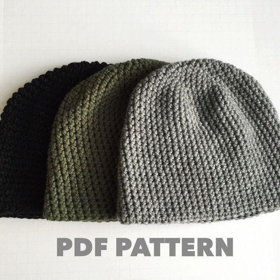 Crochet Pattern Mens Easy Beanie Hat Crochet Hat Pattern For Etsy Crochet Mens Hat Mens Crochet Crochet Hats