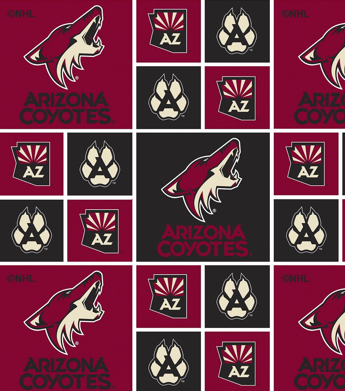 Arizona Coyotes Cotton Fabric Block Fabric letters