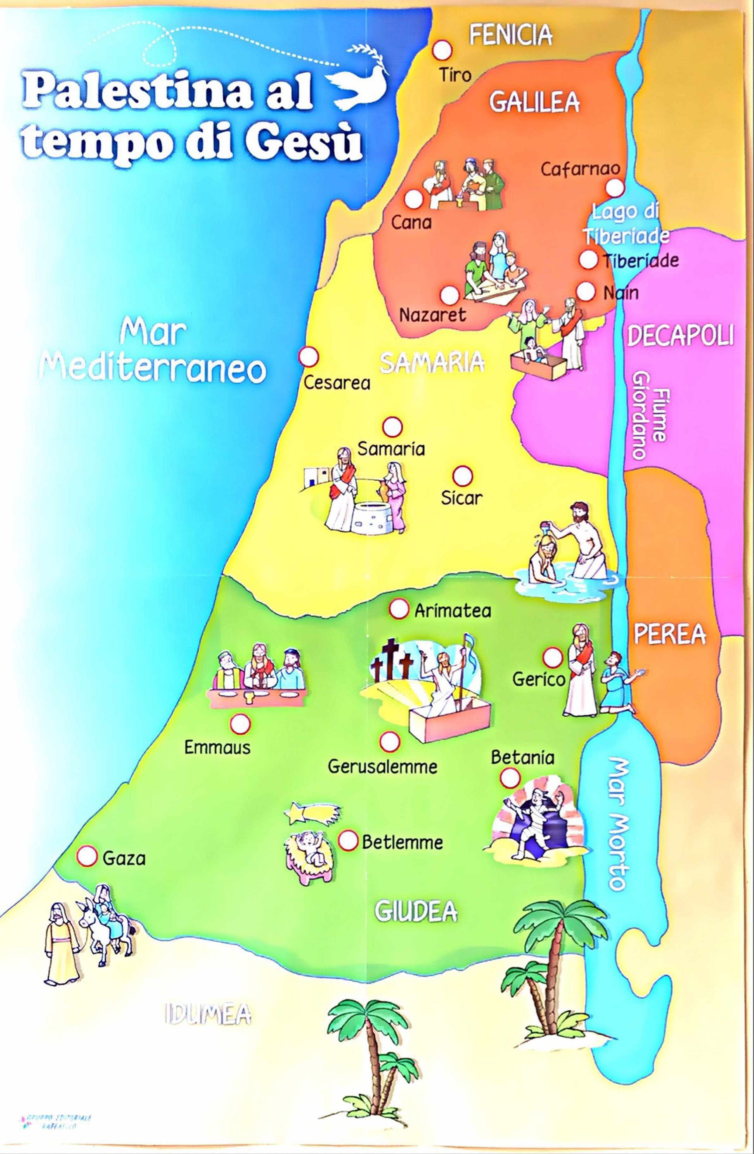 Palestina Oggi Cartina Geografica.Cartina Con La Vita Di Gesu Educazione Religiosa Le Idee Della Scuola Scuola Domenicale