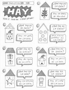christmas navidad spanish verb haber hay no prep worksheet activity printable hay learning. Black Bedroom Furniture Sets. Home Design Ideas