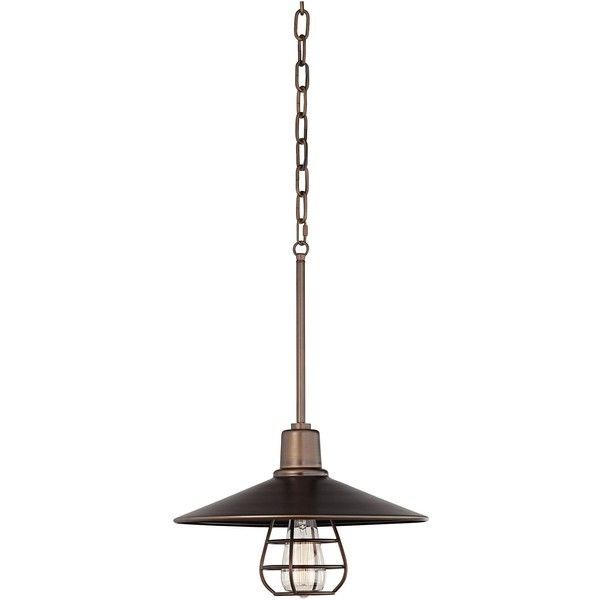 Franklin Iron Works Garryton Industrial 14 Wide Oil Rubbed Bronze Pendant Light Bronze Pendant Light Pendant Light Industrial Pendant Lamps