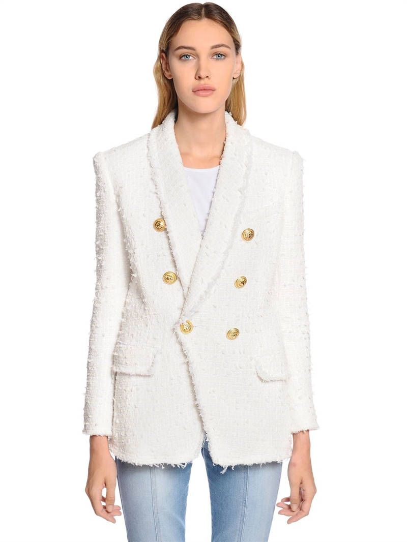 ef44abf1 BALMAIN - DOUBLE BREASTED FRINGED TWEED BLAZER - WHITE | Wishlist ...