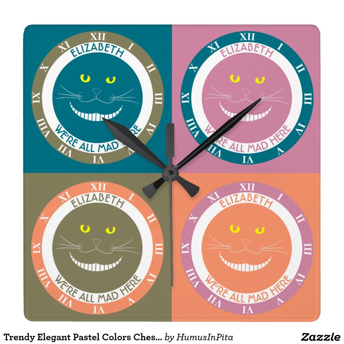 Trendy Elegant Pastel Colors Cheshire Smiling Cat Square Wall Clocks
