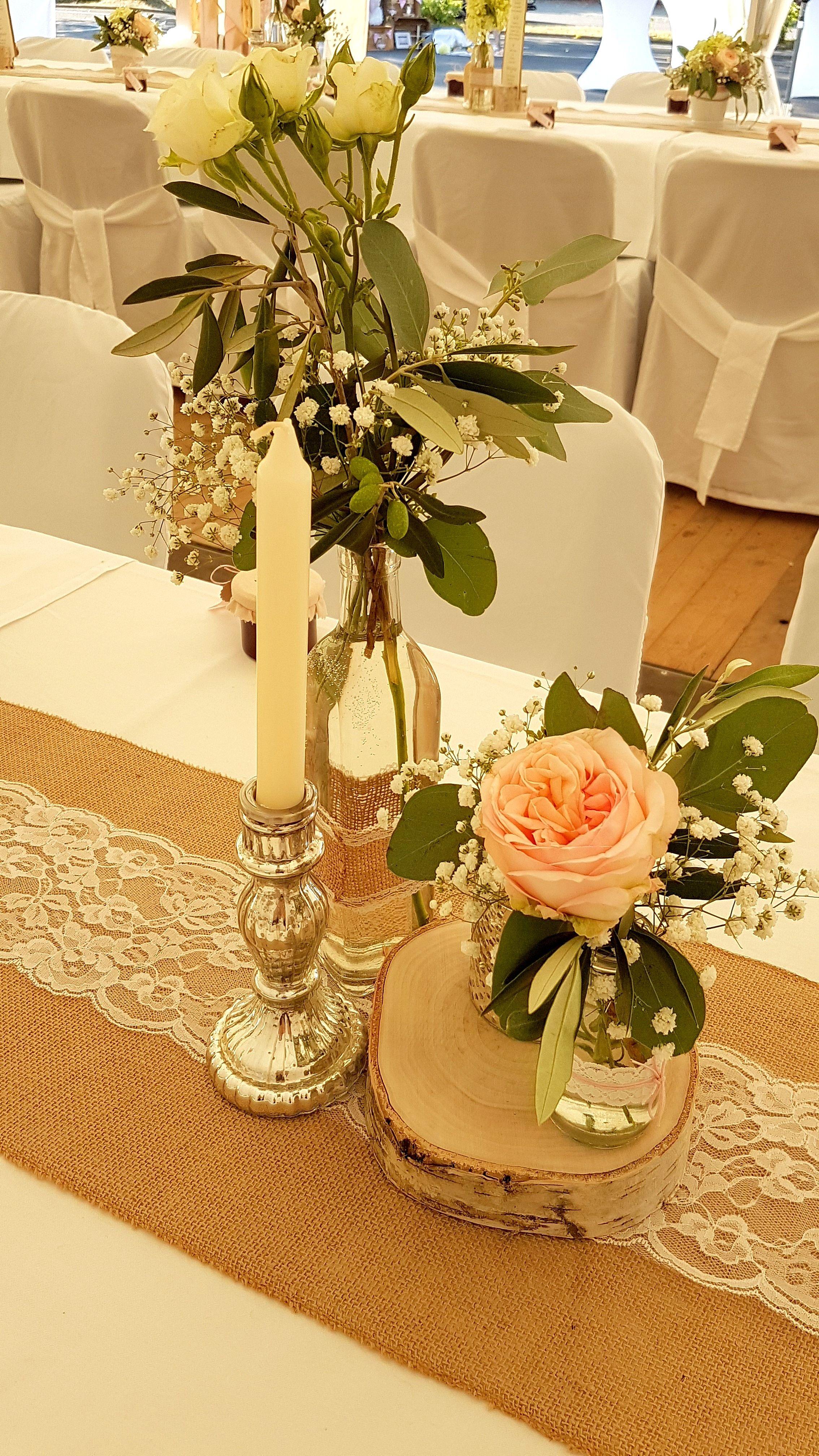 Hochzeit Wedding Tisch Tischdeko Herz Bauernsilber Rose