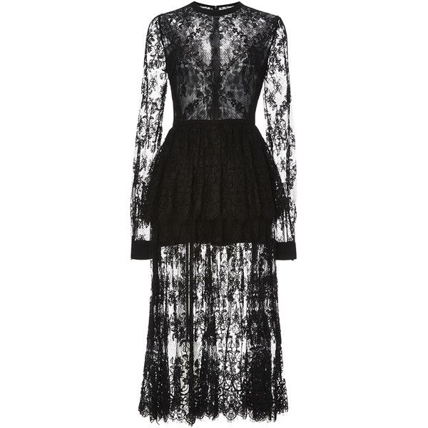Elie Saab Double Georgette and Lace Double Tier Dress ($7,125) ❤ liked on Polyvore featuring dresses, ruched dress, midi dress, long sleeve sheath dress, scalloped lace dress and peplum midi dress