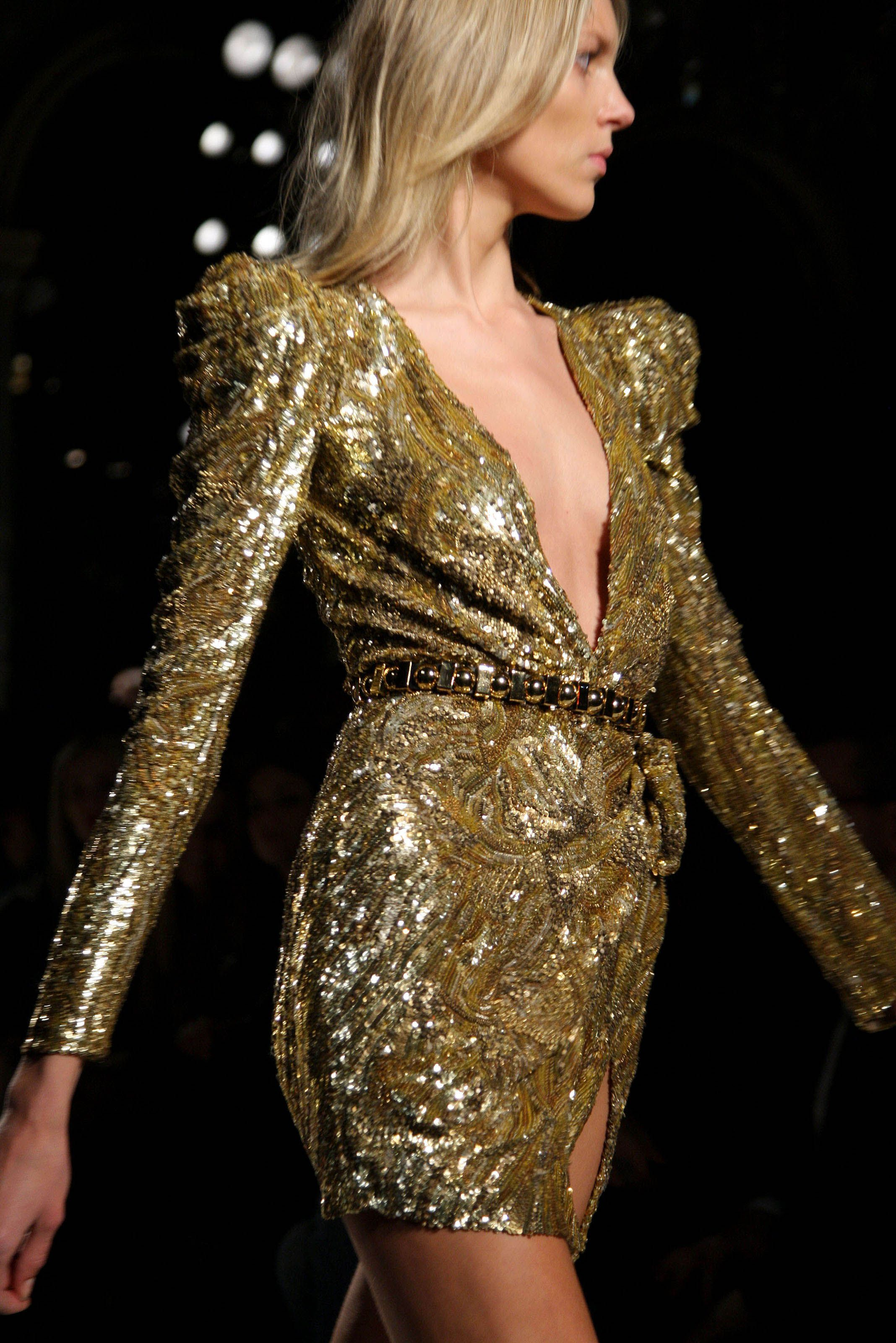 Balmain Gold Sequin Tail Dress