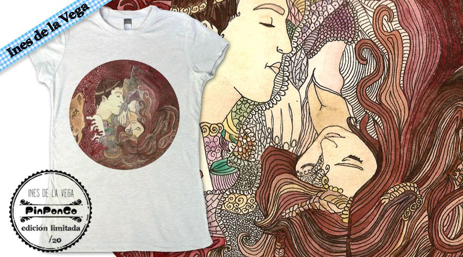 Obra de Inés de la vega sobre camiseta de algodón serie limitada de 20 unidades para PinPonGo