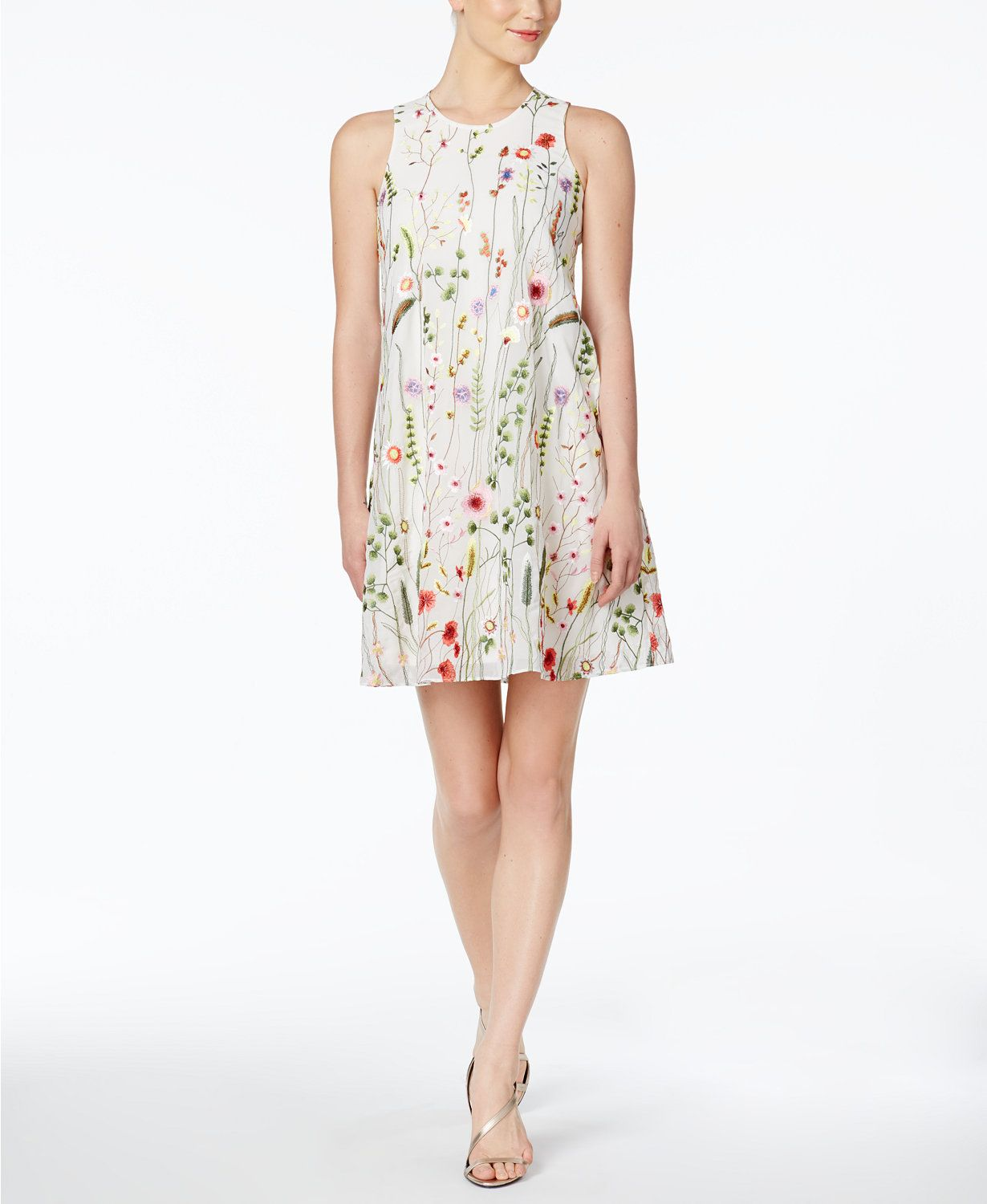 Calvin Klein Floral Embroidered Trapeze Dress Macys Com Womens Dresses Trapeze Dress Dresses [ 1500 x 1230 Pixel ]