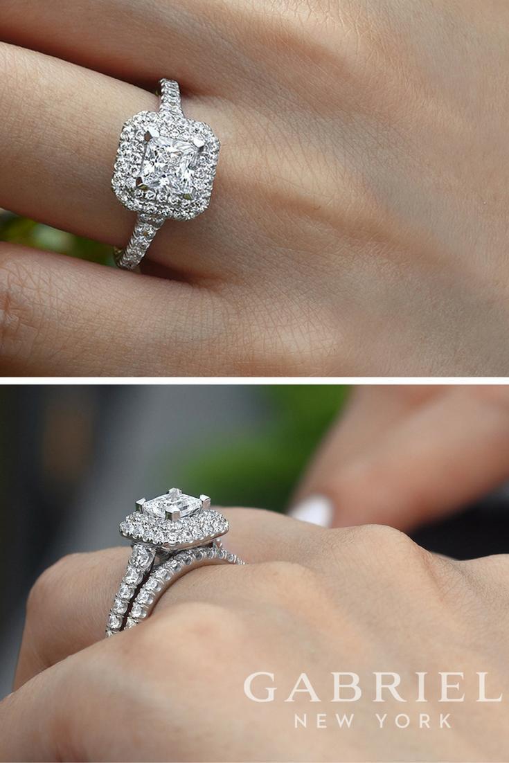 Gabriel 14k White Gold Princess Cut Double Halo Engagement Ring
