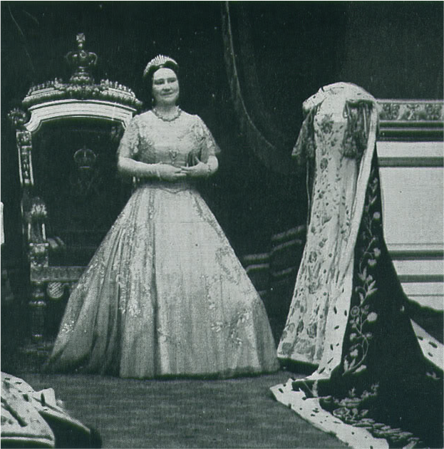 Queen Elizabeth The Queen Mother admiring her coronation robes, St James\u0027s  Palace